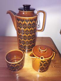 Hornsea Pottery - Heirloom Design. Coffee Pot. Sugar Pot. Milk Jug. Unused. Mint condition.