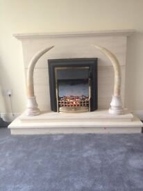 Large pair of solid Italian marble tusks standing 33 inches high in superb condition.