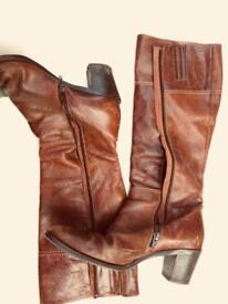 Italian tan boots size small 6.5