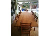Large solid oak table and 10 chairs