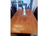 Solid Hardwood Dining Table and 6 Black Leather Chairs
