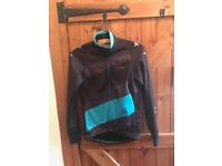 Ladies DHB mid-weight cycling jacket - black and turquoise