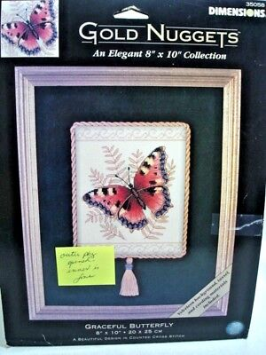 "Dimensions Gold Nuggets GRACEFUL BUTTERFLY Counted Cross Stitch 35058 8"" X 10"""