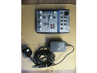 Behringer Eurorack UB502 Mixer with power supply input.