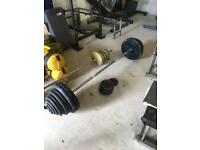 160kg cast iron weight plates with barbell set