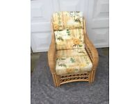 Two Piece Wicker Conservatory Furniture Set With Cushions