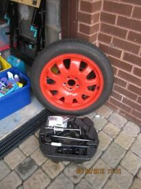 spare wheel with brace and accessories
