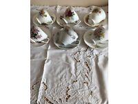 Lovely Vintage Mis matched Teaset 6 Cups & Saucers