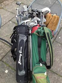 2 sets of mixed golf clubs & bags