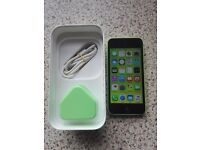 iphone 5c green, unlocked, 16gb, perfect working order, comes with box charger and plug
