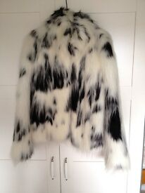 RIVER ISLAND- White & Black Faux Fur Coat- as seen on Chloe Sims