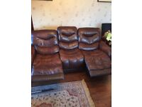 Brown leather suite 3+1+1 good condition