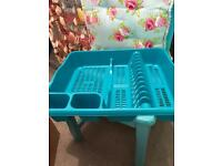 Teal blue dish drainer