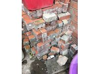 Red bricks rubble