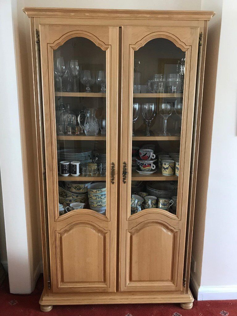 Solid Oak Display Unit With Part Glass Doors And Wooden Shelves