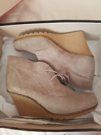 Cream Suede Lace up Boots (Wedges)