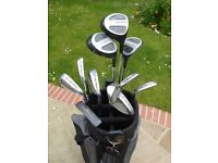 Full set of 11 Golfmaster Alpha system 1 golf clubs with bag and pull trolley