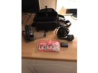Camcorder, carry bag, spare battery and blank dvds