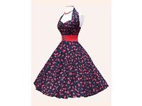 Stunning Vivienne of Holloway cherry print circle dress, 1940's/1950's chic