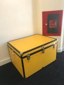 EXTRA LARGE STORAGE TRUNK TOY BOX YELLOW MADE IN ENGLAND