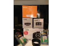 New Canon EOS 700D DSLR Camera Body, 50mm f1.8 STM, 24mm f2.8 STM & extras