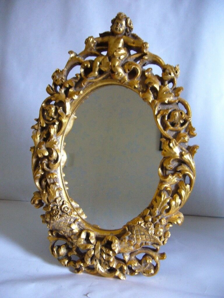CLASSICAL GILT GOLD CHERUB MIRROR TABLE OR WALL HANGING