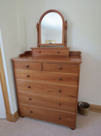 Handmade Cherry Wood Bedside Cabinets and Large Chest of Drawers with Mirror Unit.