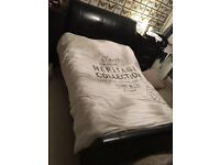 Brown leather double sleigh bed & matress