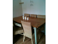 Pine Table & 6 Wicker chairs