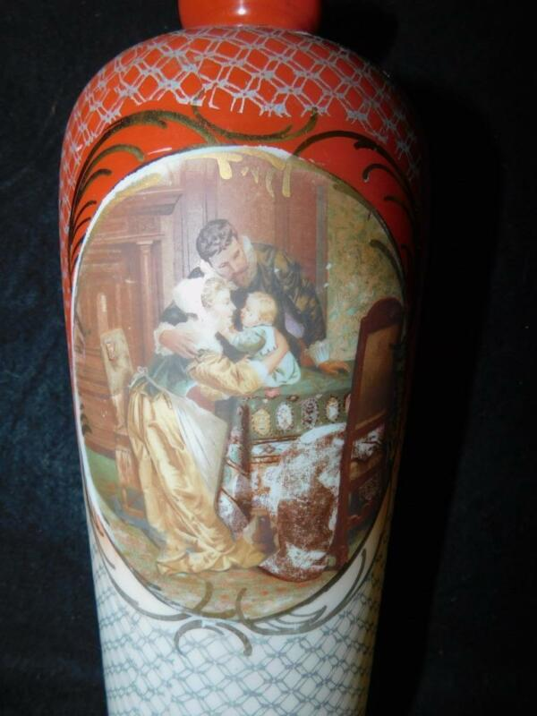 """ANTIQUE VICTORIAN PAINTED BRISTOL GLASS VASE FAMILY SCENE 11"""" TALL"""