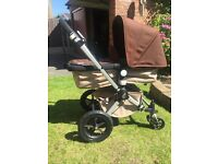 Bugaboo Cameleon 2 Travel System - Brown / Sand. Carry cot & pram. Foot muff. Parasol. Rain cover.