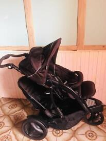 Graco double pram with rain cover