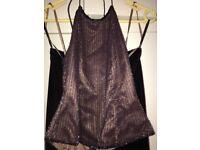 Monsoon size 10 Ladies plum coloured beaded top and velvet skirt