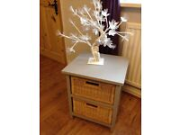 Refurbished Shabby Chic Bed Side Lamp Coffee Table Storage Cabinet Baskets Paris Grey Chalk Paint