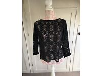 size 16 Next black lace detail sheer long sleeve shirt