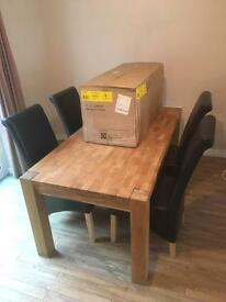 Oak Table and 6 strong chunky leather chairs 6 foot x 3 foot