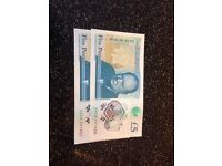 x2 new 5pound notes serial numbers AA06