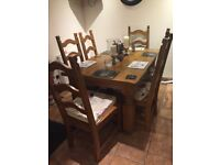 Farmhouse solid oak table and 6chairs