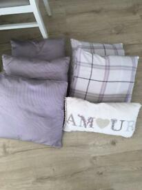 Purple cushions x 6