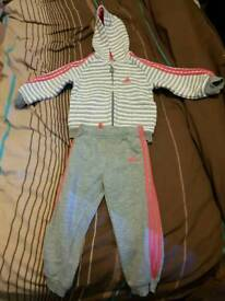Adidas tracksuit girls 18-24 months