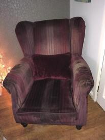 Burgundy. Velvet. Armchair