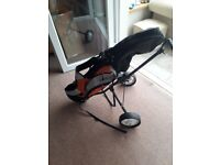 Childrens golf set with trolley And extra clubs(slightly smaller)