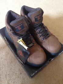Trojan Workwear Brown Leather Safety Boot - Steel Toe Cap