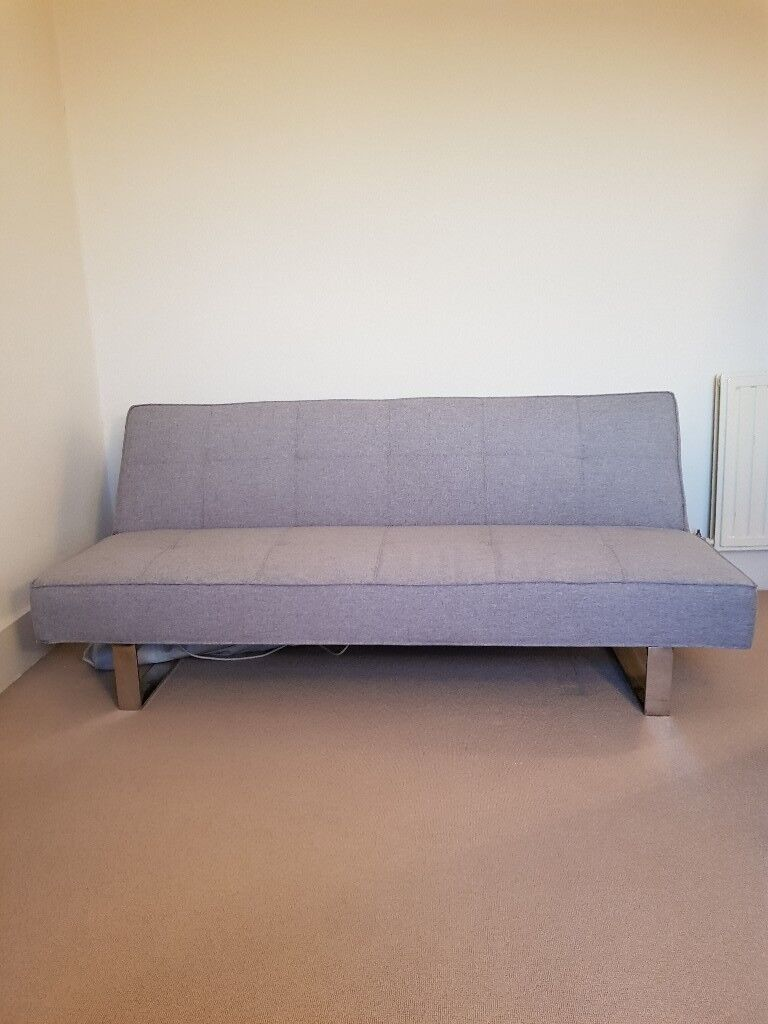 For Channing Fabric Clic Clac Sofa Bed Light Grey Futon