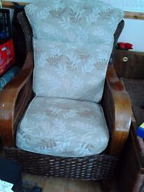 THREE PIECE SUITE- TWO SEATER SETTEE AND TWO CHAIRS.WICKER SUITE.