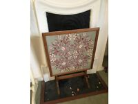 Vintage hand stitched fire screen/table