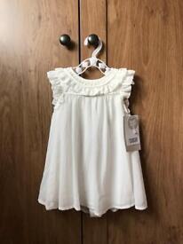 Beautiful white chiffon dress - age 6-9 months