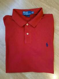 DEEP RED RALPH LAUREN POLO SHIRT. SLIM FIT SIZE XL