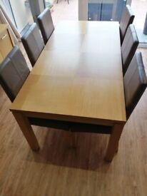 Oak Dining Table & 6 Real Leather Chairs