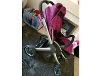 Oyster pushchair with Brushed Chrome Chassis and colour pack